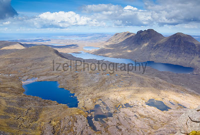 Summits of Baosbheinn and Loch a Bhealaich (right) and summits of Beinn Bhreac,Creag a Chinn Duibh (middle left) with Loch Toll nam Biast lower left.