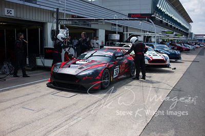MP Motorsport's Aston Martin Vantage GT3 in the pit lane, pre-race, at the Silverstone 500 - the third round of the British GT Championship 2014 - 1st June 2014