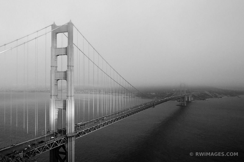 GOLDEN GATE BRIDGE AT SUNSET SAN FRANCISCO BLACK AND WHITE