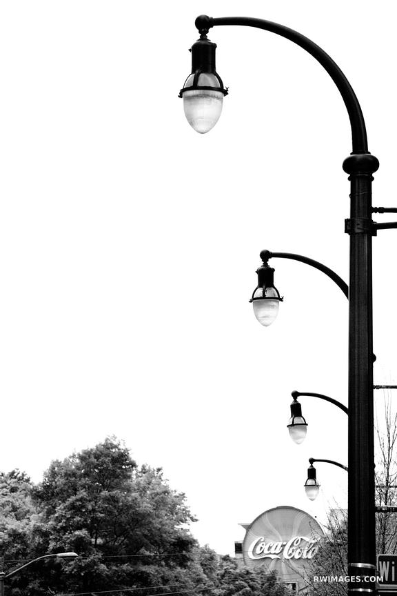 STREET LAMPS COCA COLA SIGN DOWNTOWN ATLANTA BLACK AND WHITE