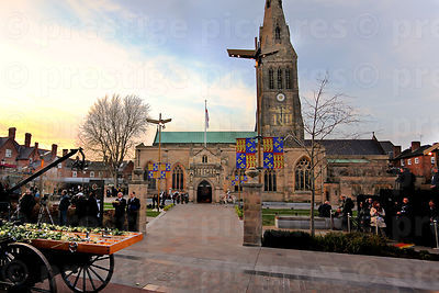 Leicester Cathedral with Richard III's Name Projected onto the Tower