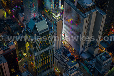 Close up aerial view of buildings next to Times Square, including the Morgan Stanley Building, Midtown Manhattan