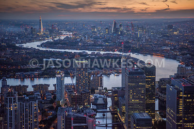 Aerial view of Canary Wharf at dusk, London.