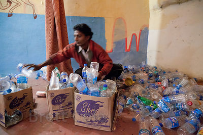 A mountain of plastic water bottles in a hotel in Bundi, Rajasthan, India