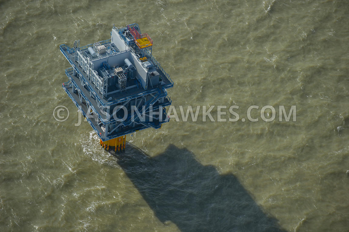 Aerial view of the London Array, Thames Estuary, United Kingdom