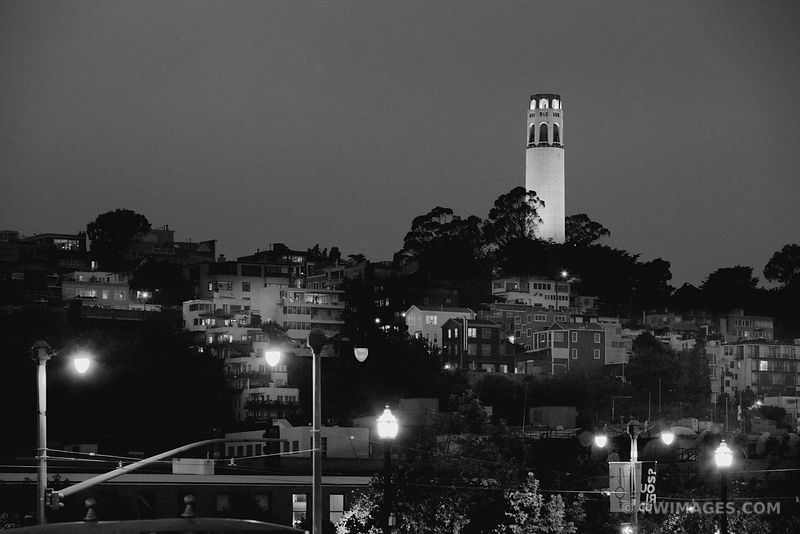 COIT TOWER NIGHT SAN FRANCISCO BLACK AND WHITE