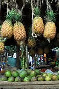 Pineapples and mangoes on display on a market stall Uganda Africa