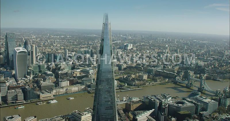 London Aerial Footage of The Shard with River Thames.