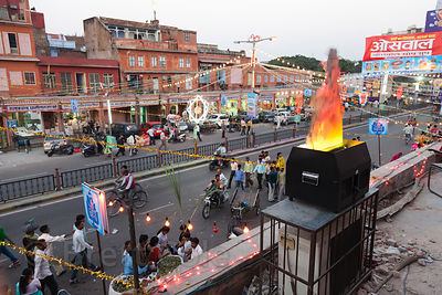 Fake flame party decoration on a rooftop during Diwali festival in Jaipur, Rajasthan, India