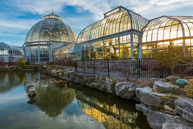 Lily Pond and Backlit Greenhouses at the Anna Scripps Whitcomb Conservatory