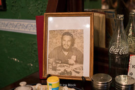 A photo of Fidel Castro on a table in the paladar La California, Havana, Cuba.