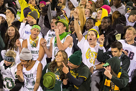 Iowa City West fans celebrate a late fourth quarter touchdown over rival Iowa City High during the Battle for the Boot at Iowa City West Friday night, October 5, 2012. (Justin Torner/Freelance)
