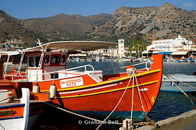 fishing boats moored in harbour elounda aghios nicolaos lassithi crete Greece