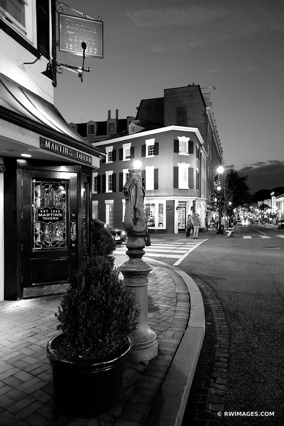 GEORGETOWN EVENING NIGHT WASHINGTON DC BLACK AND WHITE