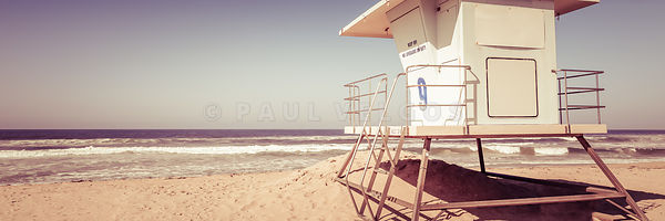 Huntington Beach Lifeguard Tower Vintage Panorama