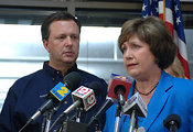 Louisiana governor Kathleen Blanco speaks to press after Katrina