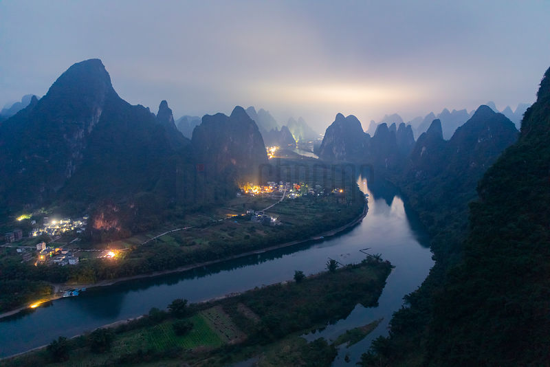 Li River seen From Xianggong Hill Viewpoint