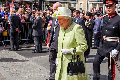 Queen Elizabeth Smiling at the crowds as she Walks through WIndsor on her Birthday
