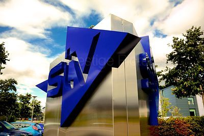 The STV Logo outside their Glasgow Studios