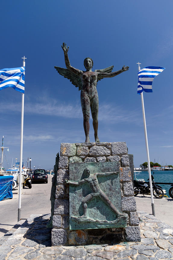 Statue of Nike the winged godess of victory by local sculpter Michalis kokkinos, Pothia Town, Kalymnos, Dodecanese islands, Greece.