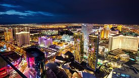 Bird's Eye: Good Morning Sunrise Vegas Strip (Panning Timelapse)