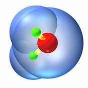 Water molecule ball and stick 2w
