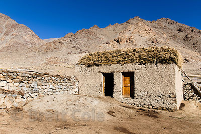 Farmhouse in the Himalayan desert near Choglamsar, Ladakh, India