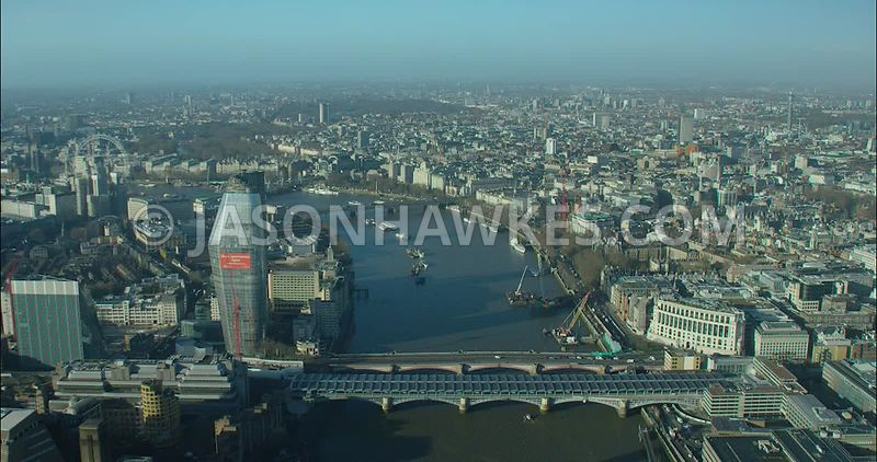 London Aerial footage, Blackfriars Bridges with 1 Blackfriars