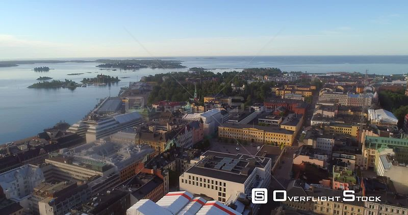 Helsinki City, Aerial View of Kaartinkaupunki Cityscape, Parks and Churches, on a Sunny Summer Morning Dawn, in Helsingfors, Uusimaa, Finland