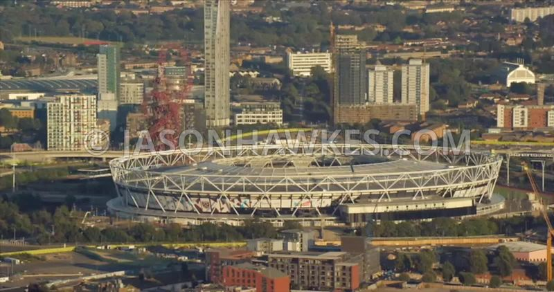 Aerial footage of London Stadium,  Queen Elizabeth Olympic Park , London