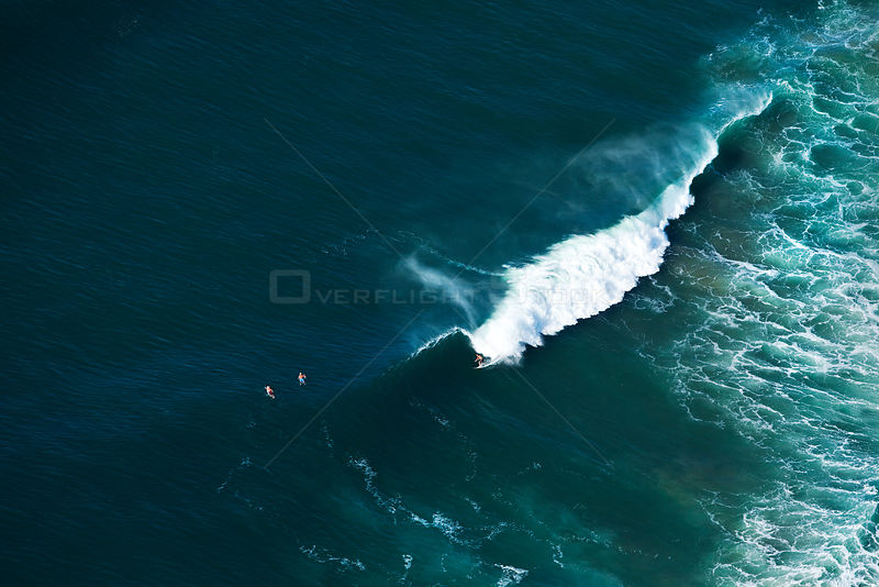 Aerial photograph of surfers on waves, Indian Ocean, KwaZulu-Natal Province, South Africa, May 2010