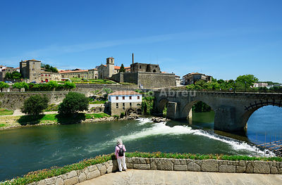 The historic site of Barcelos and the medieval bridge that is used by the pilgrims on the way to the Camino de Santiago (Way of St. James). Barcelos, Portugal (MR)
