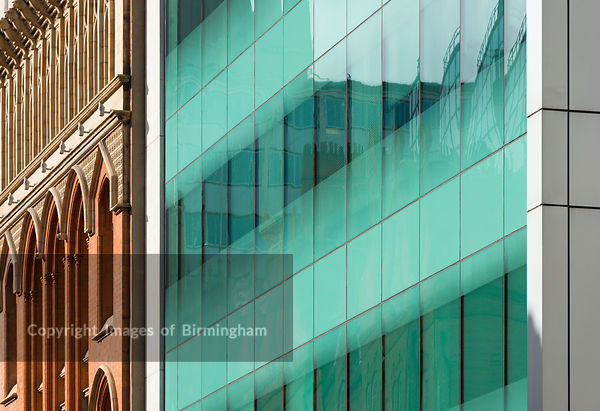 Architectural abstract of city centre offices, Edmund Street, Birmingham, England