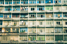 crowded housing facade in wuhan china
