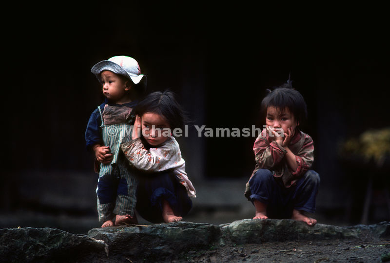 Three young children..Guizhou, China