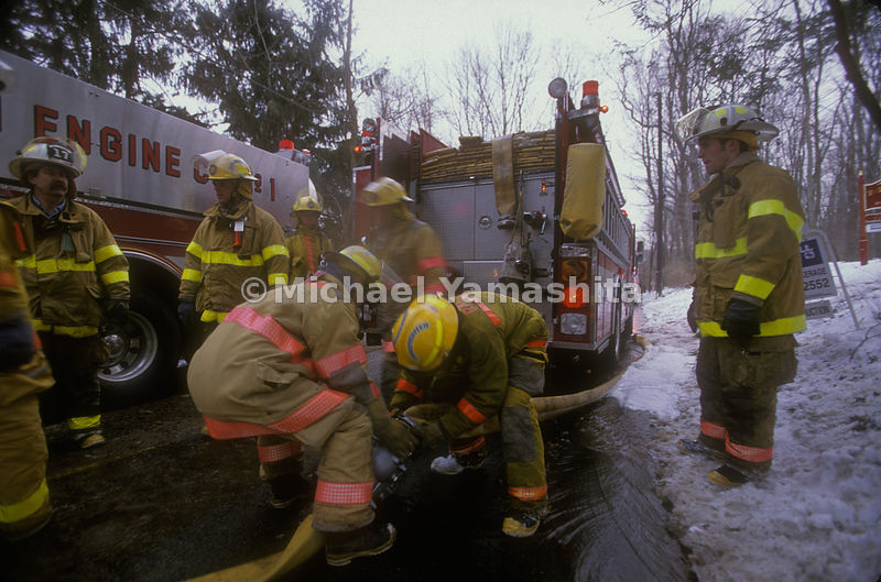 Ralston Engine Co#1 attending to the Corey Lane Fire, Mendham, NJ.