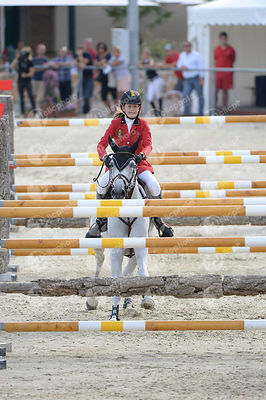 CONTER Emilie, (BEL), CESANNA during  competition at European Jumping Championship for Children, Juniors, Young riders at Lake Arena, Wiener Neustadt - Austria