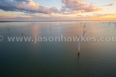 Aerial view of Wind Farm in North Sea, United Kingdom