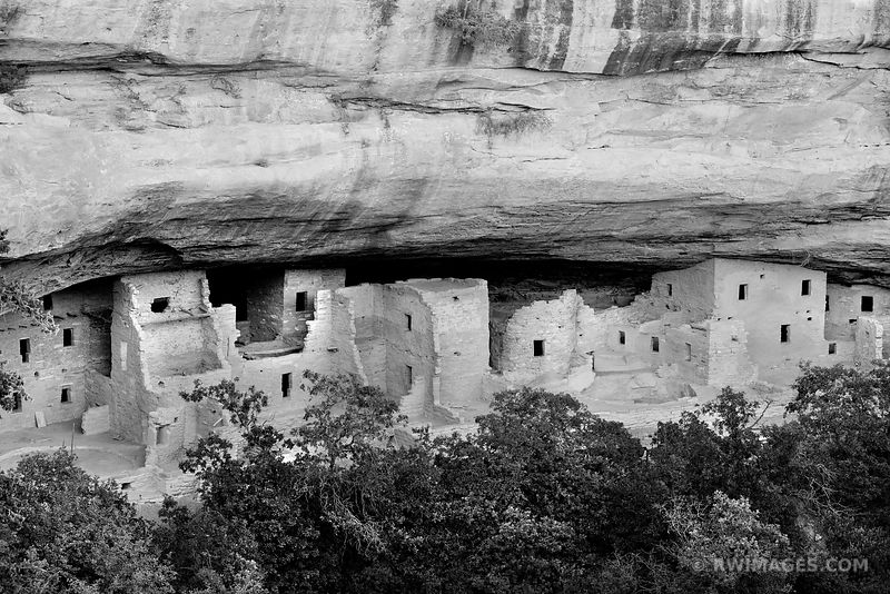 SPUCE TREE HOUSE RUINS MESA VERDE NATIONAL PARK COLORADO BLACK AND WHITE