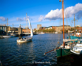 yacht sailing in the floating harbour bristol docks.