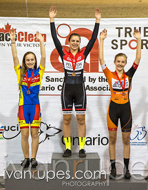 U17 Women Individual Pursuit Podium. Ontario Track Provincial Championships, March 4, 2016