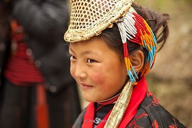 "A girl on the street around Punakha Dzong (meaning ""the palace of great happiness or bliss"") in Punakha, Bhutan."