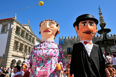 Traditional big-headed masks of Minho ( gigantones and cabeçudos) at the historical centre of Viana do Castelo. Our Lady of Agony Festivities, the biggest traditional festival in Portugal.
