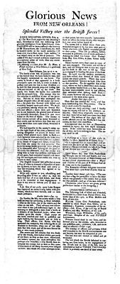 Broadside story on New Orleans victory during War of 1812