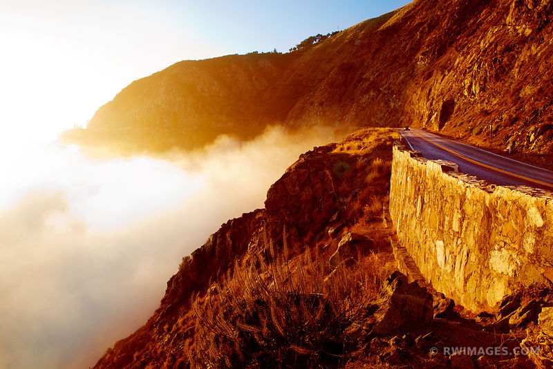 BIG SUR FOGGY PACIFIC COAST HIGHWAY 1 CALIFORNIA SUNSET