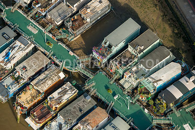 Aerial view of London, Chelsea housboat moorings.