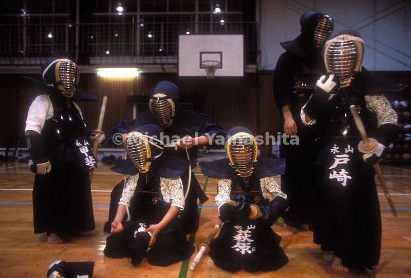 Community kendo practice at the Nagahama elementary school.