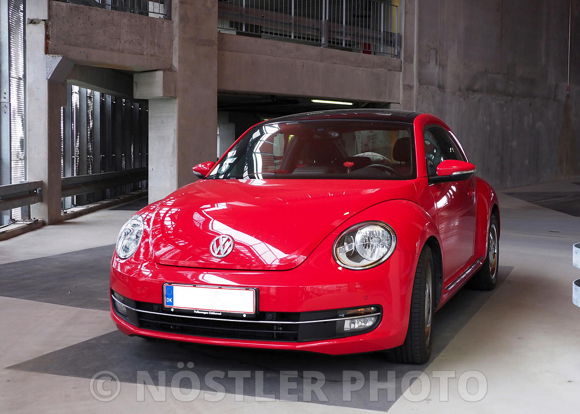 A red VW Beetle