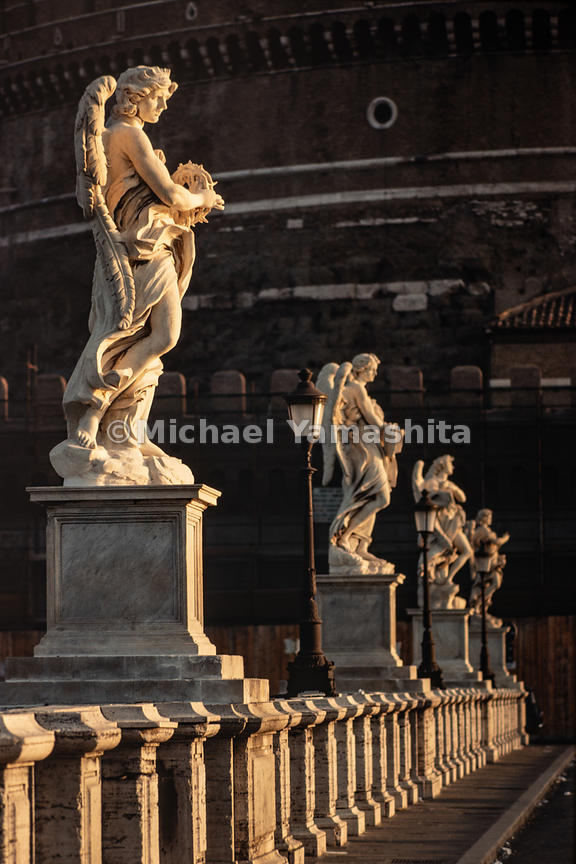 Ponte Sant'Angelo is a Roman bridge that has ten sculptures of different angels across it. Rome, Italy, 1988.
