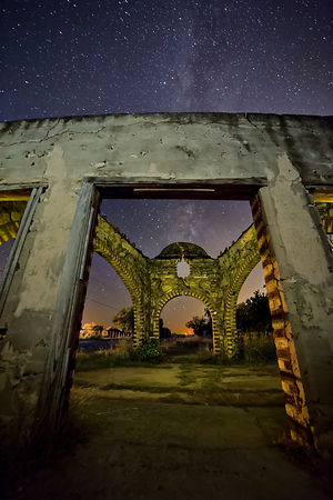 Gas Station Ruins and Milky Way